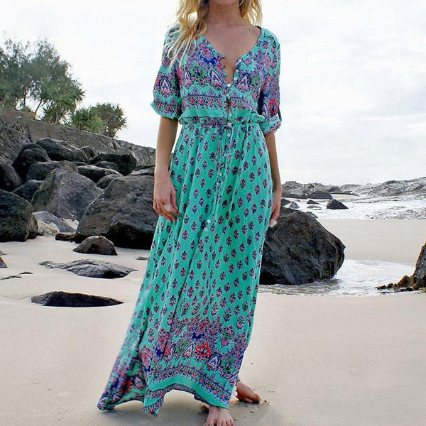 Green Tropical Beach Vintage Maxi Dresses