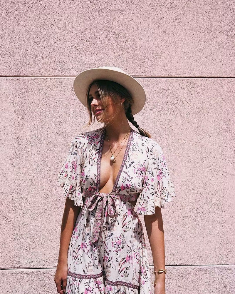 Hippie Style Floral Maxi Dress