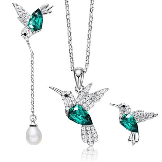 Hummingbird Necklace Earrings Set