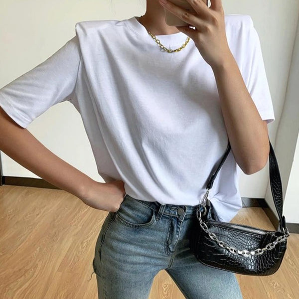 White Padded Shoulders T-shirt