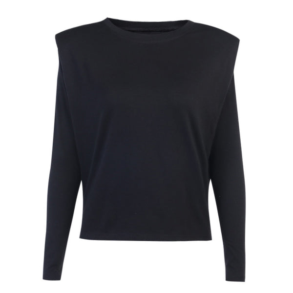 Black Long Sleeve Padded Shoulder Shirt