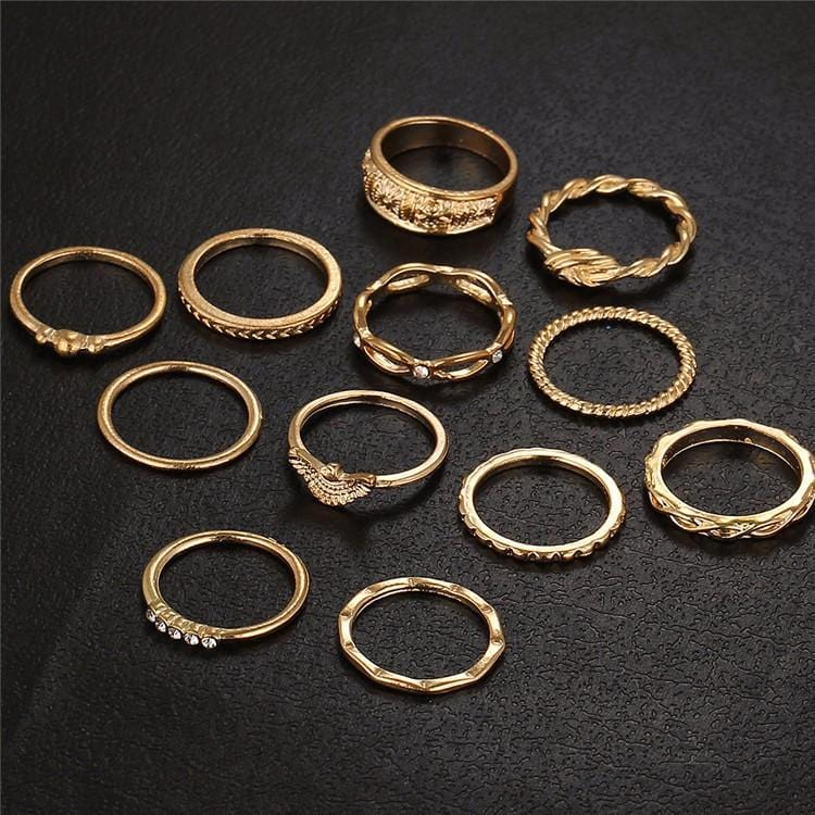 Mavis's Gold Color Charm Ring Set