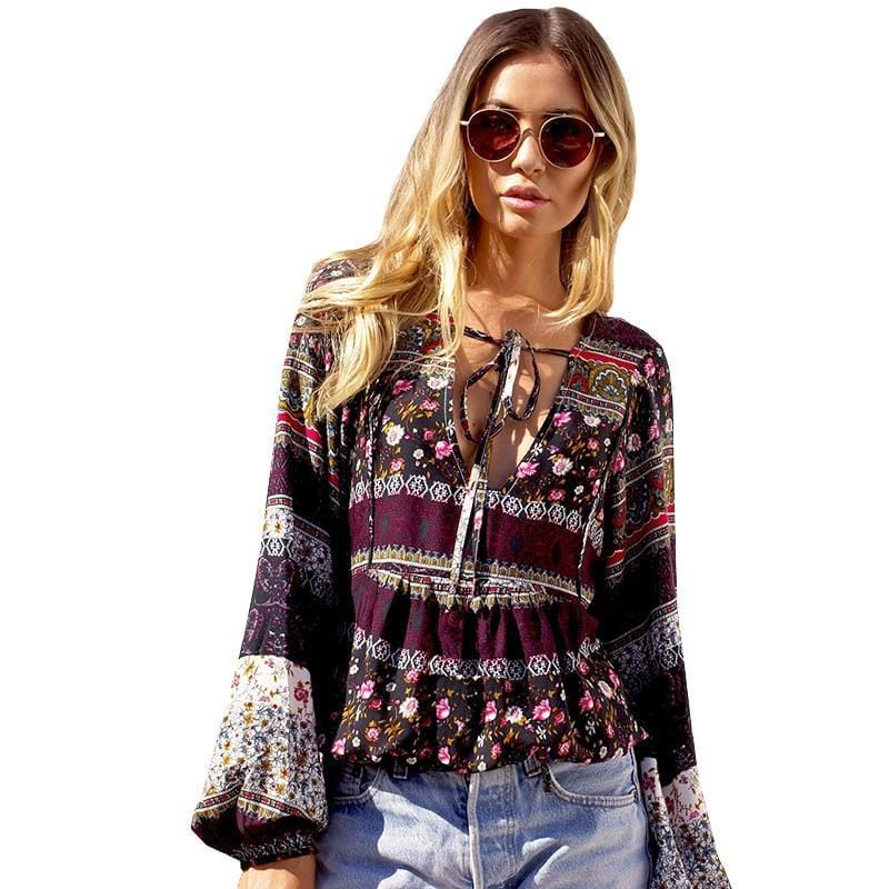 Rylee's Boho Floral Print Blouse