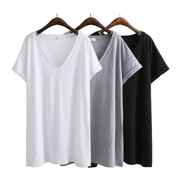 Basic Extra Long White/Black/Gray T-Shirt