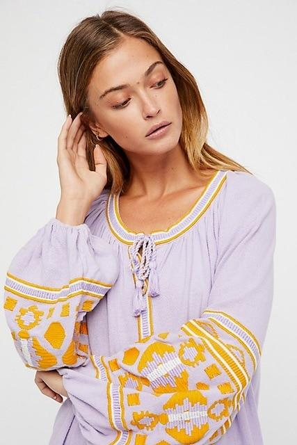 Kailee's Embroidered Long Blouses Look