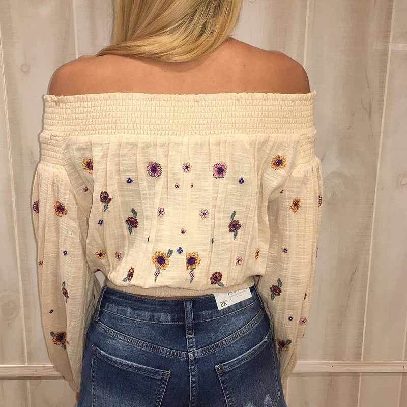 Ashley's Floral Embroidery Blouse