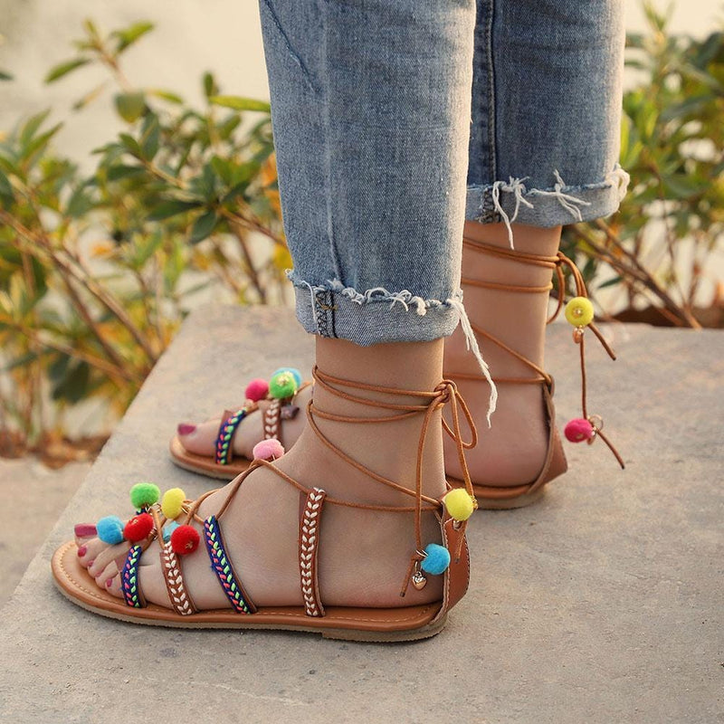 Kiera's Boho Lace Up Sandals