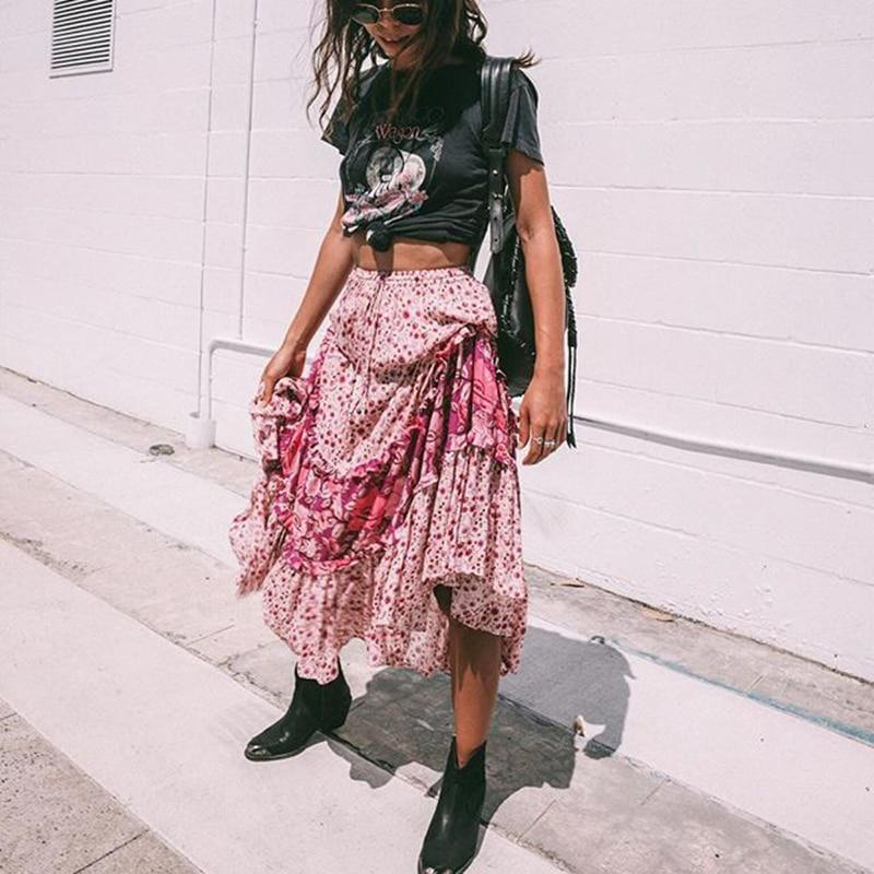 Lilly's Boho Flower Long Skirt