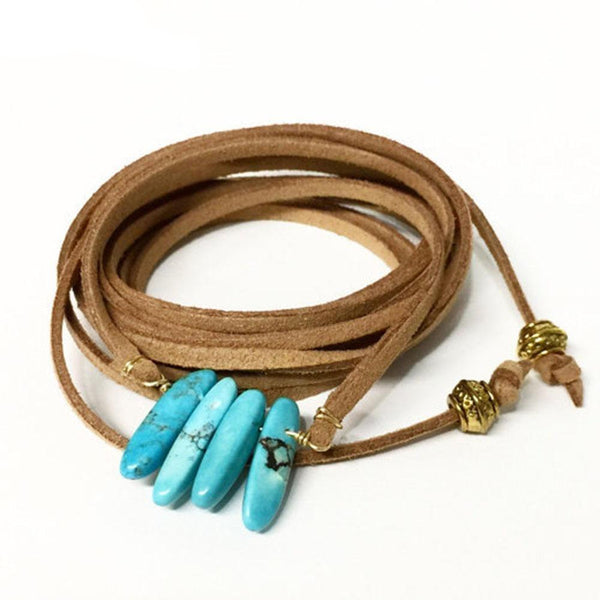 Boho Leather Stone Pendant Necklace