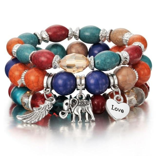 Scarlette's Colorful Gem Beaded Bracelet