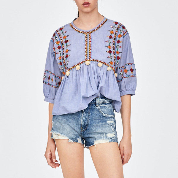 Ivy's Embroidered Boho Blouse