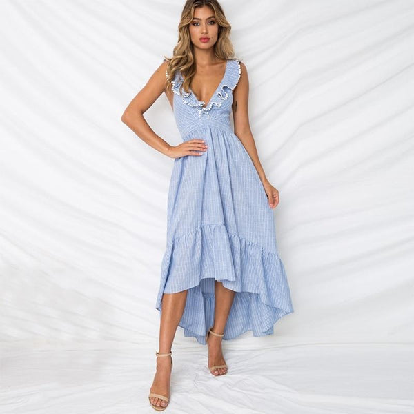 Belen's Ruffle Striped Maxi Dress