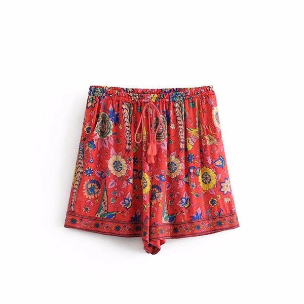 Sariyah's Red Floral Print Shorts