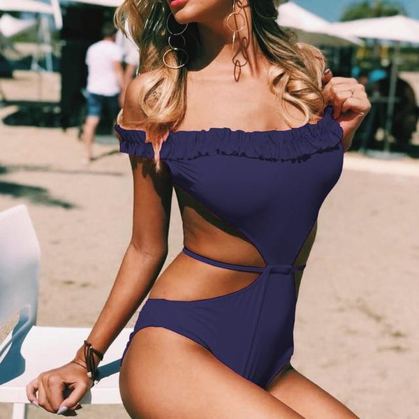 Cali's Ruffled Off Shoulder Swimsuit