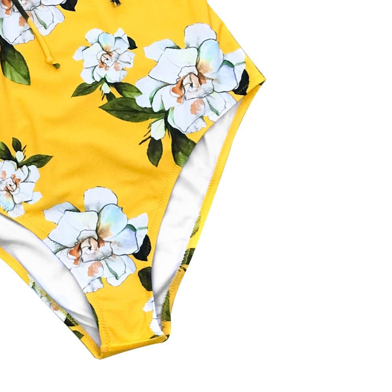Selena's Yellow Floral Print One-piece