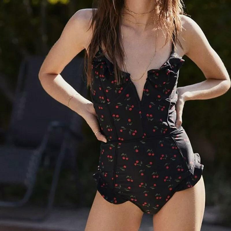 Cora's Cherry Floral One Piece