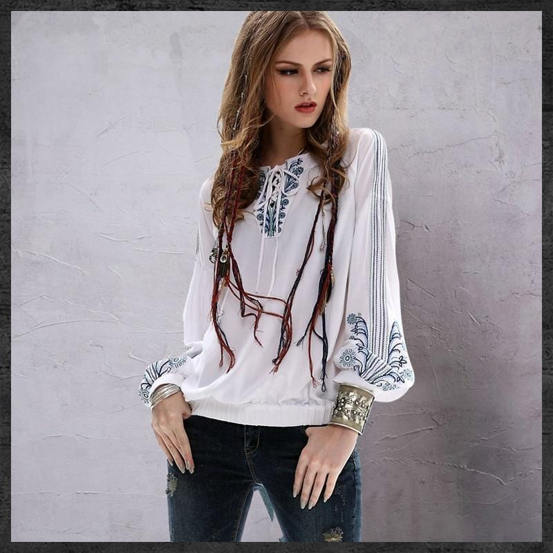 Annabelle's Boho Embroidery Blouse
