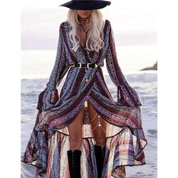 Paislee's V-Neck Boho Maxi Dress