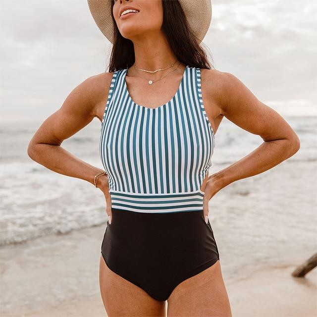Lillian's Striped Print One Piece