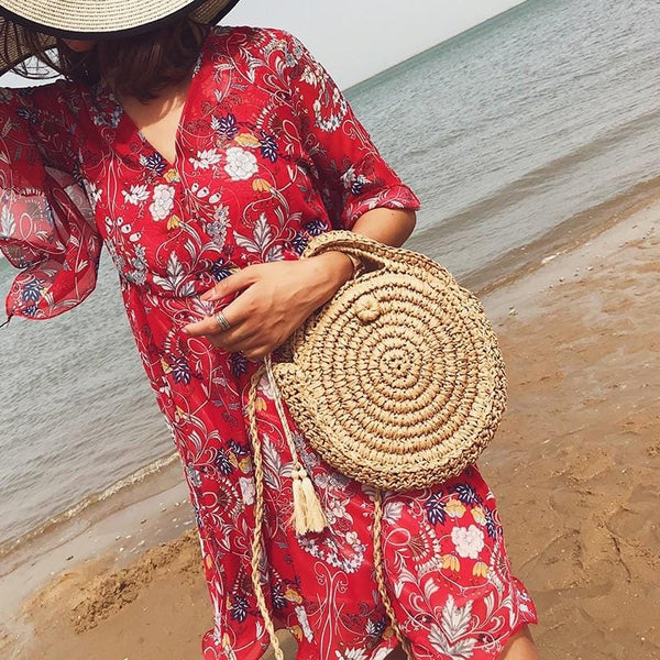Harmoni's Round Straw Beach Bag