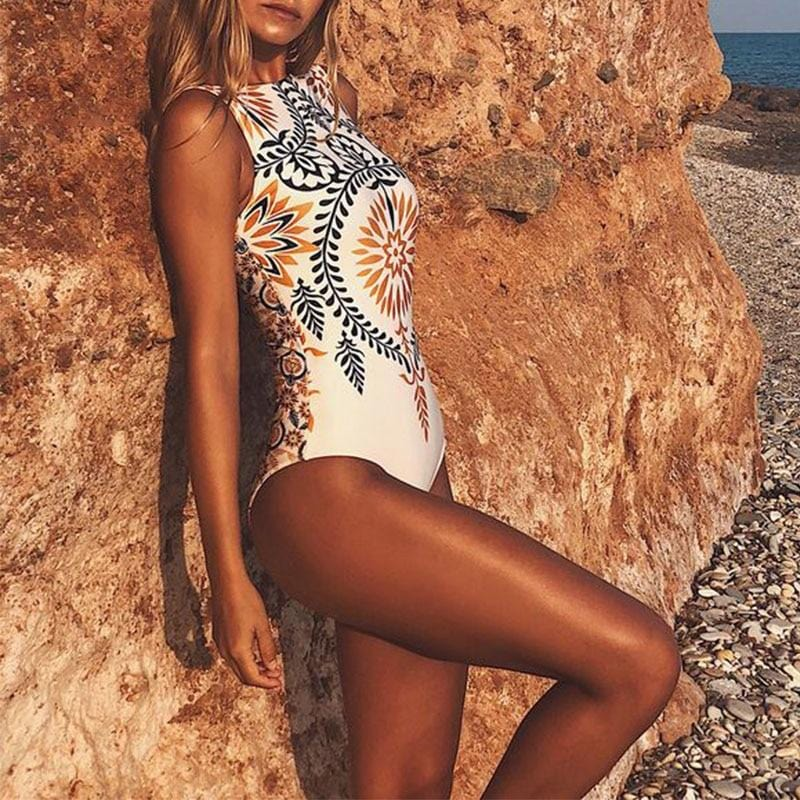 Ayla's Thong Boho Print One Piece