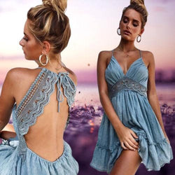 Astrid's Lace Backless Mini Dress