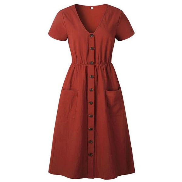 Adilynn's Buttons Pockets Dress