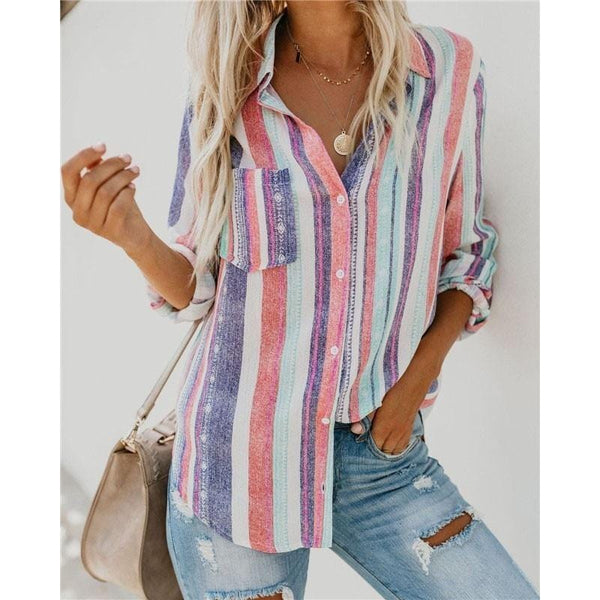 Adalynn's Lapel Striped Blouse