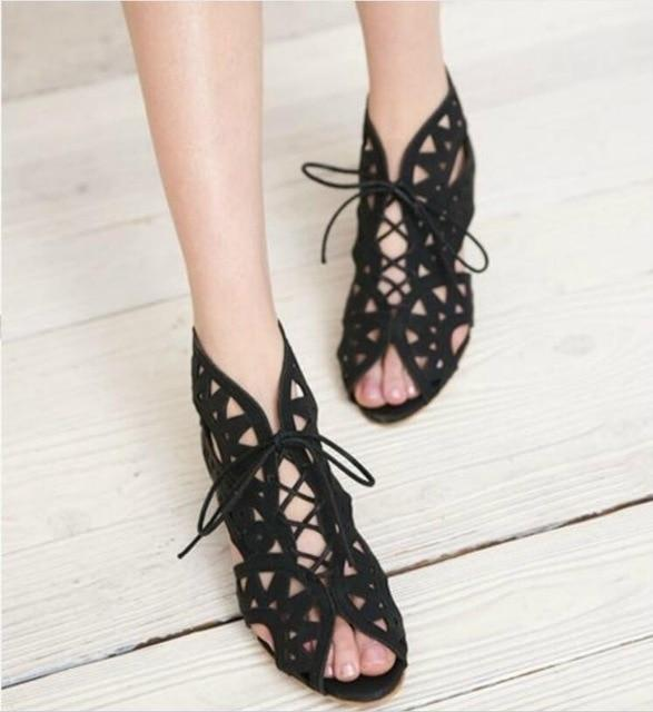 Angie's Low Heel Lace Sandals
