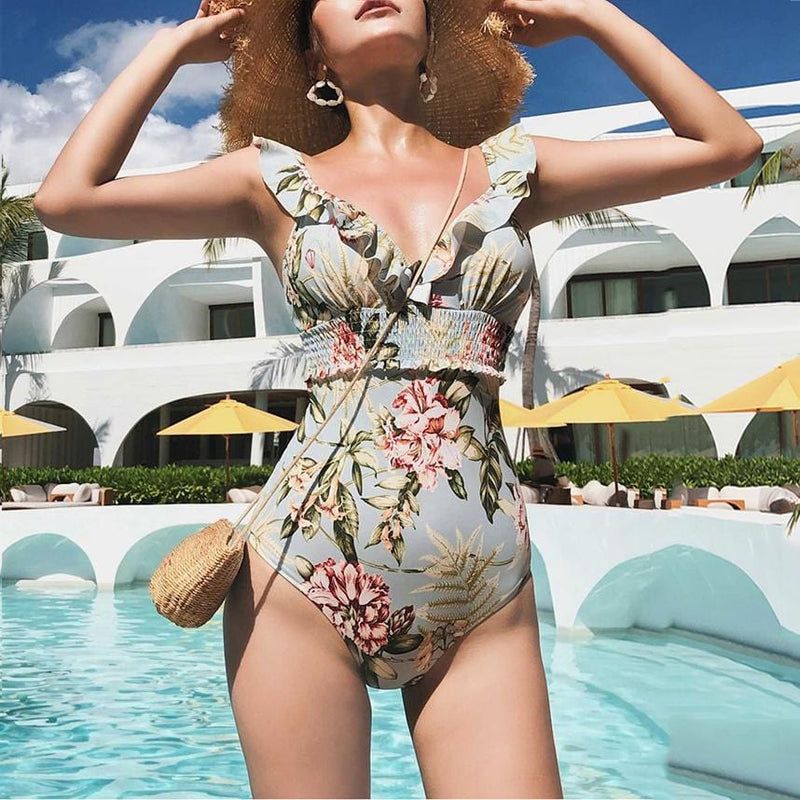 Christina's V Neck Floral Swimsuit