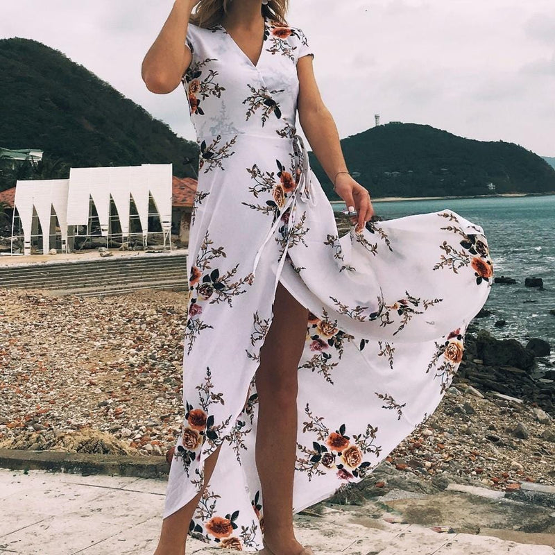 Abril's Deep V Maxi Dress