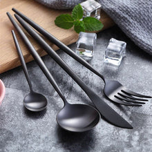 Load image into Gallery viewer, Matte Black Cutlery (4pc Set)