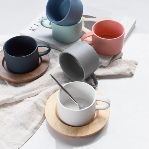 Nordic Coffee Cup and Wooden Saucer (Sold Separately)