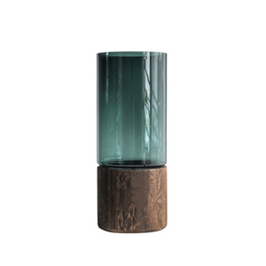 Cylindrical Glass Vase with Wooden Base