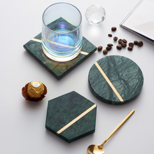 Load image into Gallery viewer, Marble Coaster with Gold Trim (4pc set)