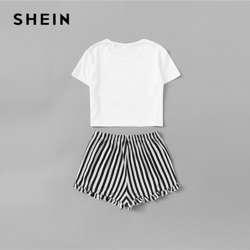 770dc8fe54 SHEIN Matching Family Outfits Graphic Crop Tee And Frilled Hem Striped PJ  Set Summer Cute Mother Daughter Nightwear