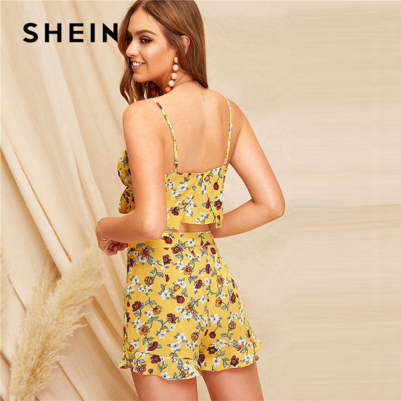 3271222d8e SHEIN Boho Crop Knot Front Ditsy Floral Cami Top And Ruffle Trim Short Sets  For Women
