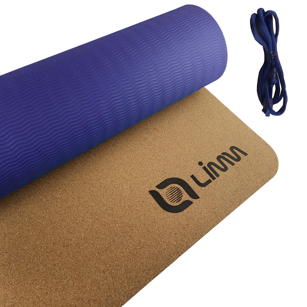 Limm Premium Blue Cork Yoga Mat Thick - Natural Yoga Mat