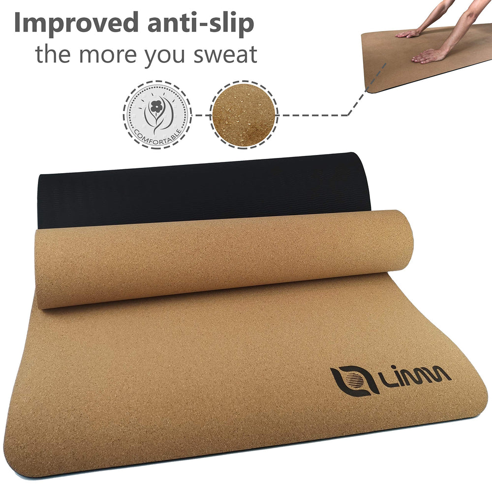 Limm Premium Black Cork Yoga Mat Thick - Natural Yoga Mat