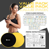Yellow Core Sliders for Working Out - Exercise Sliders Fitness Set of 2