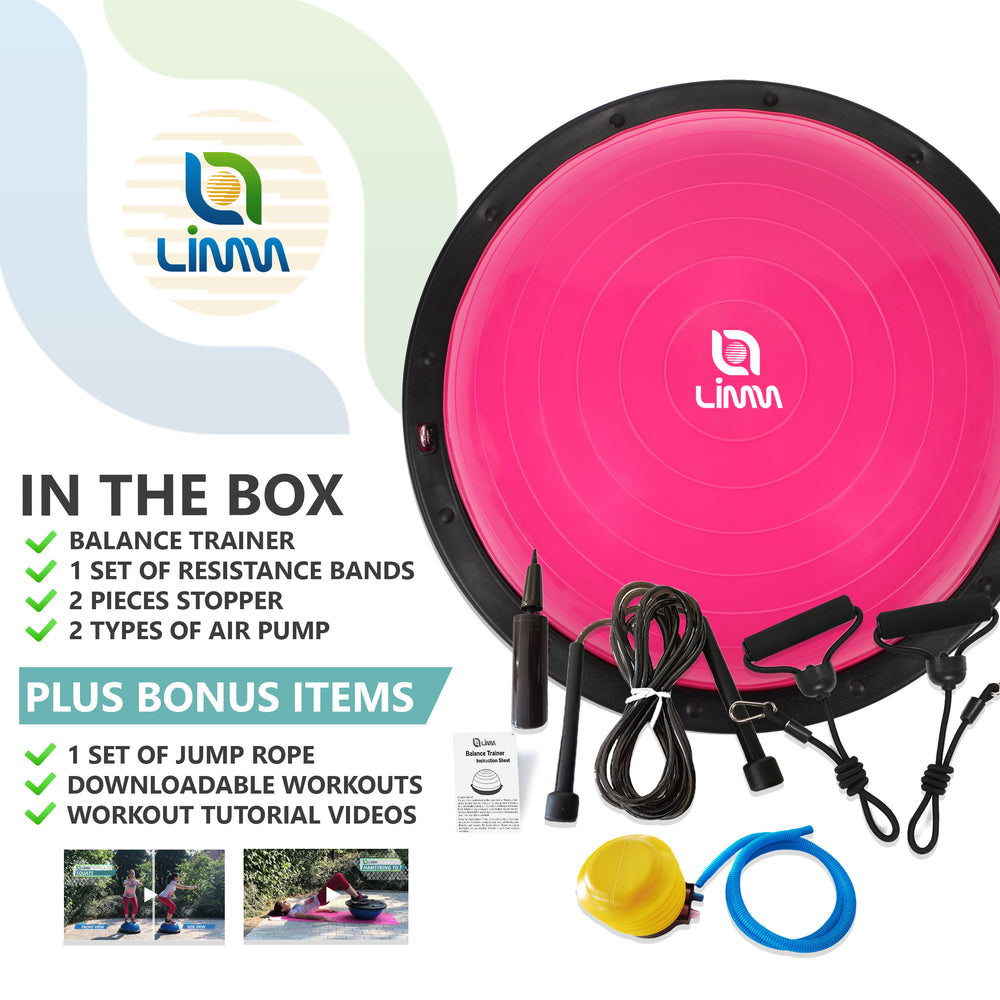 Pink Half Ball Balance Trainer - Half Yoga Ball with Resistance Bands Handle and Jump Rope
