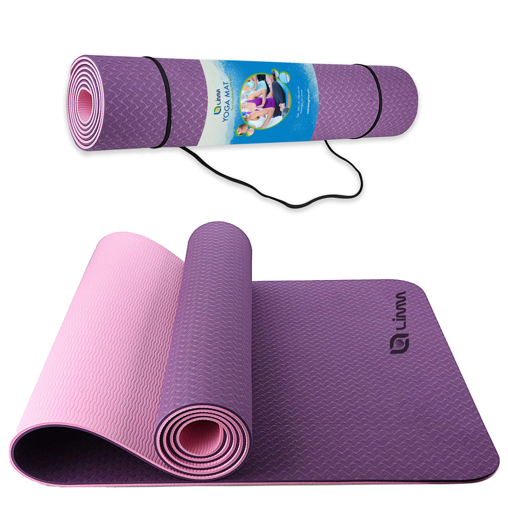 Pink Purple Yoga Mat Fitness Mat - TPE Yoga Mat with Strap for Home Gym
