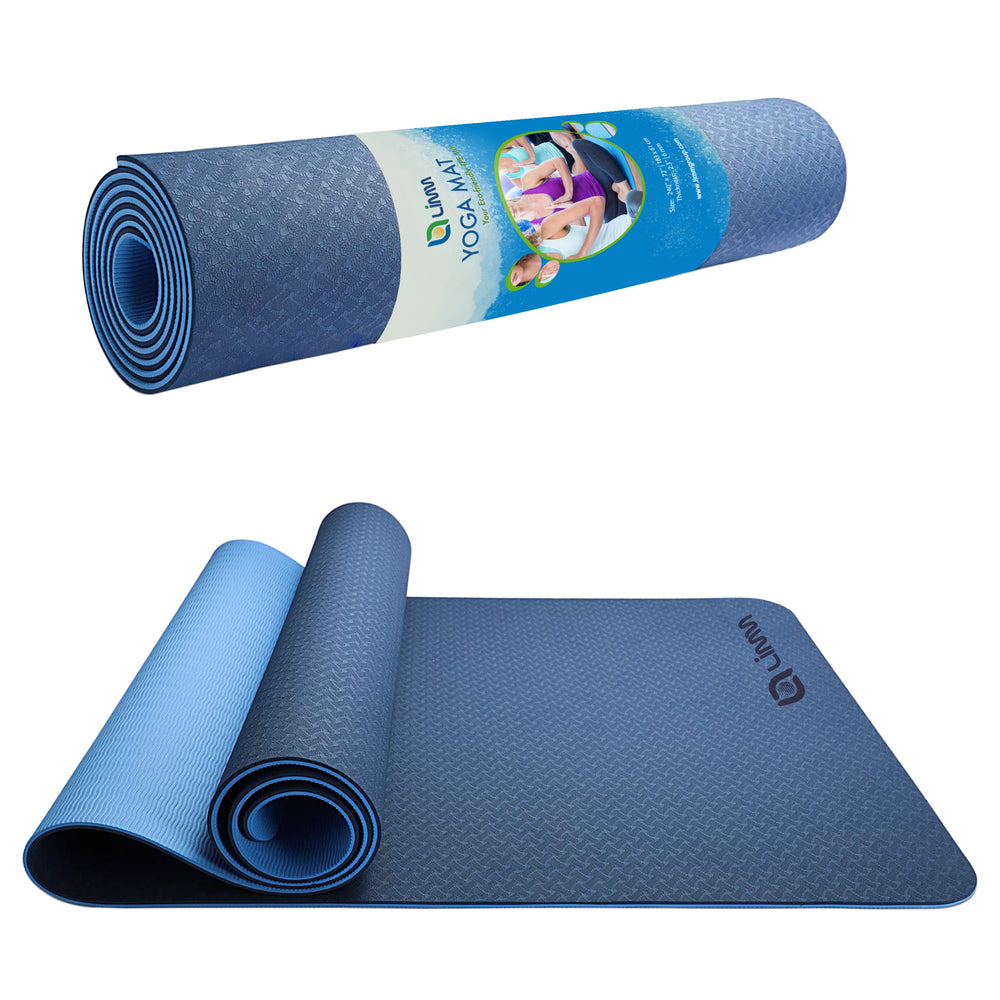 Blue Yoga Mat Fitness Mat - TPE Yoga Mat with Strap for Home Gym