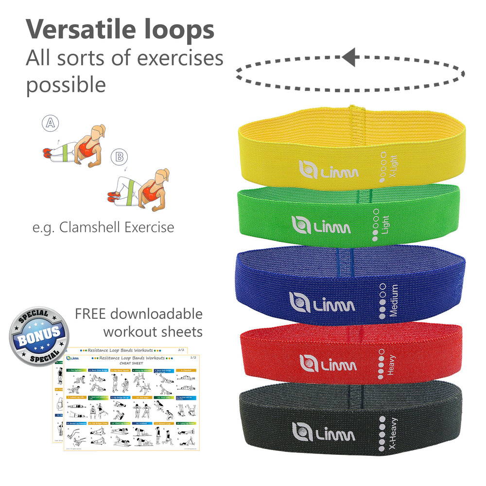 Multi Color Fabric Resistance Bands