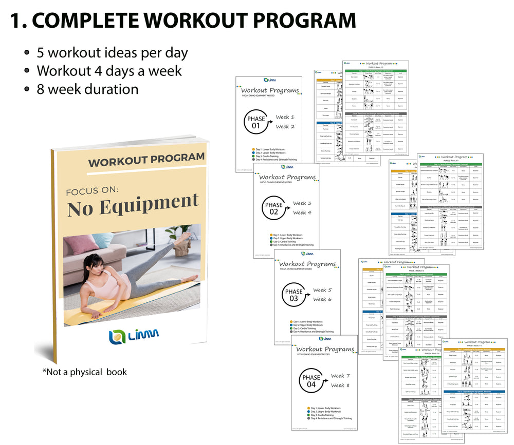 Home Workout Program II: Complete Sheets to Workout focusing on No Equipment Needed