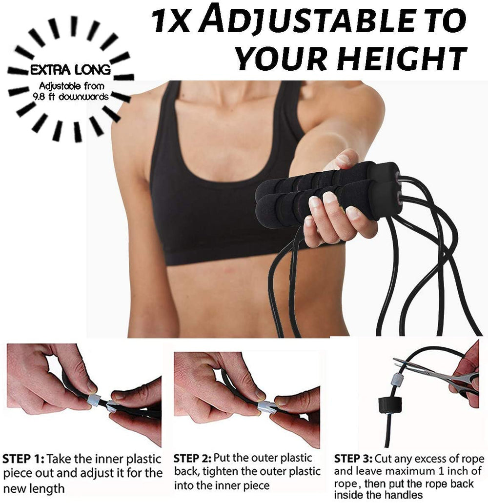 Limm Resistance Bands and Limm Black Plastic Jump Rope - Bundle for Strength Training and Cardio Workouts