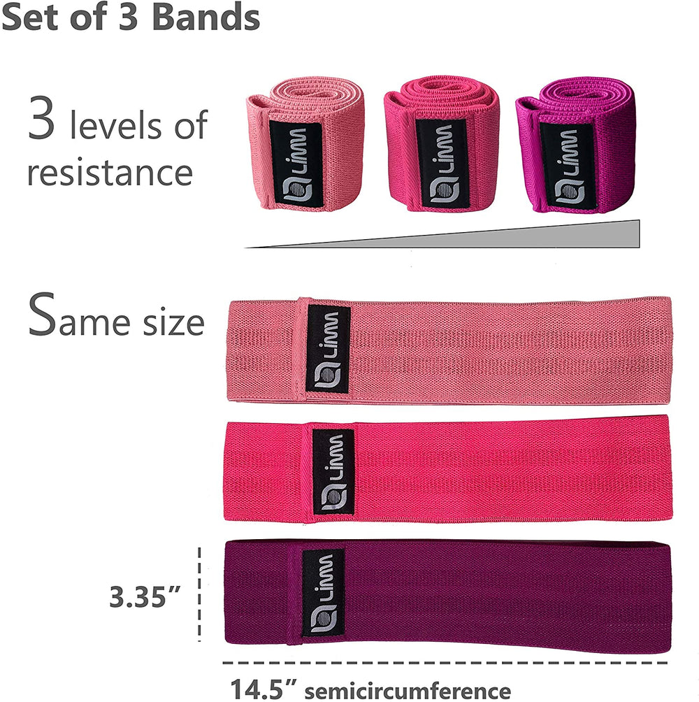 Bundle of Limm Resistance Bands Exercise Loops and Limm Booty Bands (Set of 3 Cotton/Cloth Fabric Bands)