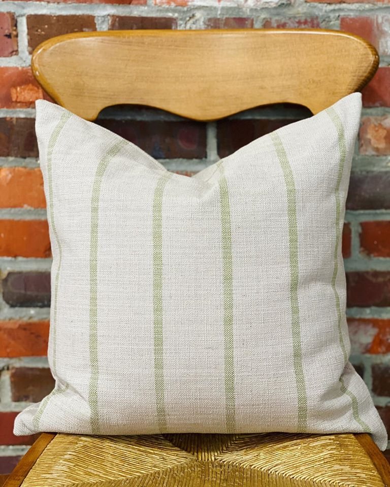 Green Stripe Linen Pillow