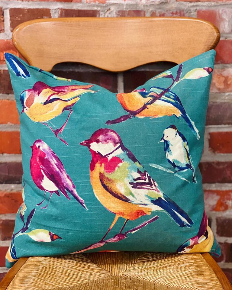 Teal Bird Pillow