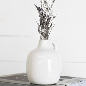 WHITE CERAMIC HANDLE VASE